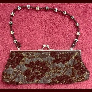 8x4 floral beaded black hand clutch